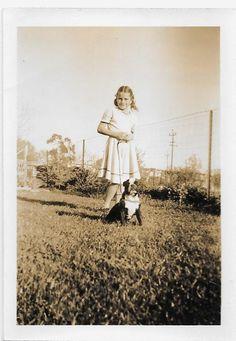 1950's Photo Cute Little BULLDOG Puppy Dog & Little Girl