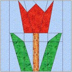 tulip+quilt+block+pattern | ALL STITCHES - TULIP PAPER PEICING QUILT BLOCK PATTERN .PDF -061A ...