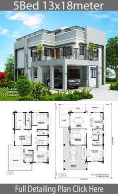 Home design plan 13x18m with 5 Bedrooms.House description:One Car Parking and gardenGround Level: Living room, One Bedroom, Dining room, Kitchen