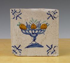 Antique Dutch Delft Tile Fruit Tazza Circa 1600 1625 Polychrome | eBay