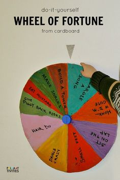 How to Make Wheel of Fortune From Cardboard. Fun rainy day activity or could use it as a sight word game, math game, etc.