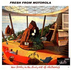 """In the 1960s, Motorola commissioned a series of ads illustrated by the late Charles Schridde with a running theme of the """"house of the future"""". These futuristic paintings are amazingly detailed. Viewed from an architecture / interior design angle, they really give an insight to the American imagination of that period. Swanky bachelor pads, spiral staircases, indoor scuba diving pools – you name it. Schridde's vision of the future plays out like a romanticized, more realistic version of The…"""