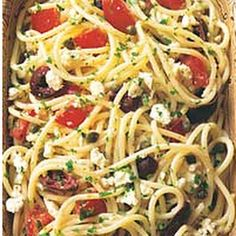 Greek Spaghetti :) (made according to recipe, except I added chopped sun-dried tomatoes, chives and basil, and I drizzled balsamic vinegar over it when served. I loved this recipe!)