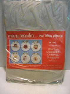 Mary Maxim Counted Cross Stitch Christmas Wreath Ornament Kit #7046 Makes 6 NEW #MaryMaxim