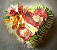 This Valentines Day try these heart shaped party food, desserts, & other heart shaped food ideas. Antipasto, Cold Cuts, Food Garnishes, Garnishing, Food Platters, Meat Trays, Food Buffet, Buffet Ideas, Deli Tray