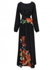 Printed Elegant long sleeve Maxi Dress