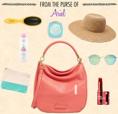 Ever wonder how strong Ariel's purse game would be? What would our favorite little mermaid carry around if she were on the streets today? With these questions in mind, we immediately dove under the sea to pick her essentials. Ariel is courageous, positive, and headstrong, meaning only the brightest and sunniest whozits, and whatzits galore...