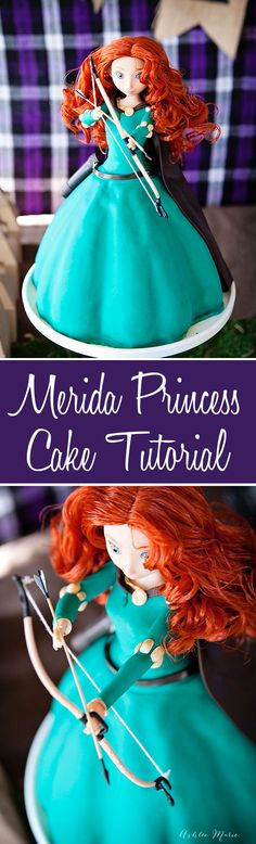 a modern take on a barbie cake, a full tutorial for creating this disney merida princess cake with tip and tricks so you can make your own