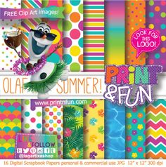 Frozen Olaf Summer Beach Party Pool Party Digital Paper Patterns - Digital Papers and more!