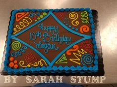Colorful shapes marquee sheet cake – buttercream by Sarah Stump - Cake Decorating Writing Ideen Cake Decorating Techniques, Cake Decorating Tips, Cookie Decorating, Sheet Cakes Decorated, Decorated Cookies, Sheet Cake Designs, Cake Design For Men, Slab Cake, Birthday Sheet Cakes