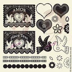 Papel Picado Digital Clip Art Banner Love Hearts Bird Floral Flowers Scalloped Lace Borders Design Elements Vintage Black DIY Wedding 10219