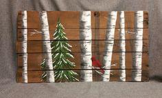 Recuperado arte de plataforma, apenado, árbol de hoja perenne árbol, abedul blanco, reciclado rústico & shabby chic pintada a mano  ¿Buscas un toque shabby chic para la decoración de la Navidad? Este cuadro también puede utilizarse durante todo el invierno.  Pintura de acrílico original en madera reciclada, rústico, característico de la plataforma. ** Este es el original en la foto. Esto es la pintura original se vende.  Listo para colgar. Firmado por el artista.  Las dimensiones son de 40…