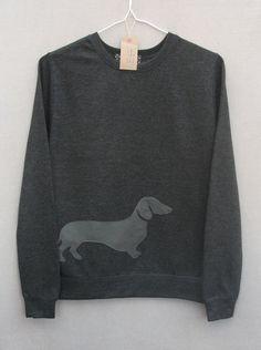 Leather Dachshund Jumper Dark Grey Sweatshirt Sweater