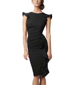Black Waterfall Pencil Dress