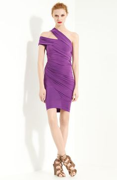 "Spring/Summer 2012 Donna Karan Collection Cold Shoulder Silk Jersey Dress in African Violet. very 80's. very pretty. very awesome. ""An angled cutout flatters the one-shoulder neckline of a vibrant dress designed with delicate gathers through the body-conscious silhouette."" $2495.00 not available to late April 2012"