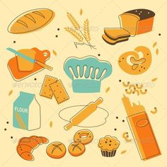 Bakery Set #evellean #vector #retro #bakery #chef