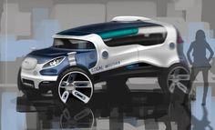 Local Motors Concept Design Sketch by Olivier Poulet Car Design Sketch, Truck Design, Car Sketch, Sketch Photoshop, Futuristic Cars, Car Drawings, Transportation Design, Future Car, Automotive Design