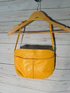 80s Canary Yellow Leather Women's Vintage Handbag Shoulder Bag - Toni - Genuine Leather - Retro Purse by DOINGITSOBER on Etsy