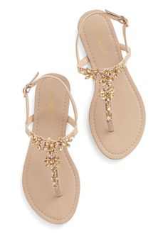 Shine Like You Mean It Sandal in Champagne | Mod Retro Vintage Sandals | ModCloth.com #sandalsflat