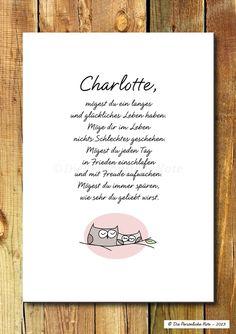 Was könnte ein schöneres Geschenk sein als gute Wünsche?! - Druck/Wandbild/Print: Traditioneller Segenswunsch - süße Geschenkidee für kleine und große Eulenfreunde!