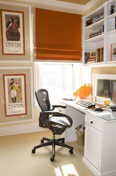 Simplified Bee®: Chic Equestrian Style in Home Decor New York-based designer Amanda Nisbet stacks colorful jockey and horse racing posters beside the desk in this bedroom. Equestrian Decor, Equestrian Style, Equestrian Fashion, Office Decor, Home Office, Office Ideas, Office Spaces, Bedroom Office, Master Bedroom