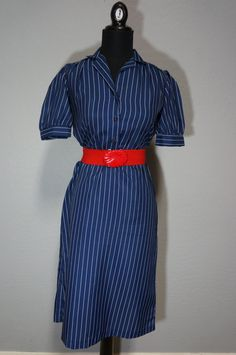 1970s Does 1940s Navy Blue Pinstripe Shirtwaist by CeeLostInTime, $30.00 #1970s #70sdoes40s #vintage #vintagedress #vintagelove #vintagefashion #shirtwaist #etsy #ceelostintime