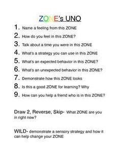 ZONE's of Regulation UNO-style game::