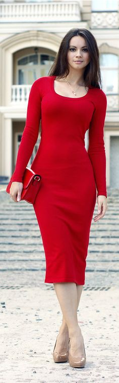 Lady in red By Dress-Kot .. Love the nude colored shoes with this... But would pair it with a nude or black purse instead