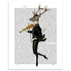 FabFunky - Dancing Deer with Violin, Unframed Dictionary Print, 20.5x28cm