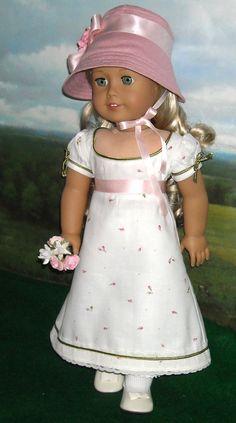 1812 Regency Dress with Pink Linen Spencer by SugarloafDollClothes
