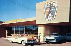 1956 Don Sanderson Ford Dealership , Glendale, Arizona Ford Motor Company, Rockabilly, Used Car Lots, Car Salesman, Ford Fairlane, Old Fords, Car Advertising, Victoria, Us Cars