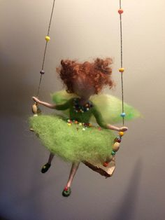 Needle felted fairy, Children room, Waldorf inspired, Needle felted angel, Swing, Doll miniature, Green fairy, Home décor,Gift, Art doll by DreamsLab3 on Etsy https://www.etsy.com/listing/463543190/needle-felted-fairy-children-room