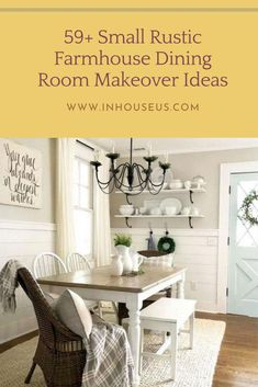 59+ Small Rustic Farmhouse Dining Room Makeover Ideas #farmhouse #farmhousediningroom Dining Table In Kitchen, Dining Room, White Curtains, Old Doors, Rustic Farmhouse, Rustic Decor, Countertops, Indoor, Bedroom