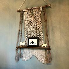 Macrame wood shelf,wall hanging shelf,hanging shelf,gray wall hanging,macrame wall hangings,fiber wall art,boho decor,boho wall hanging by HolyChicBoutiqueCo on Etsy