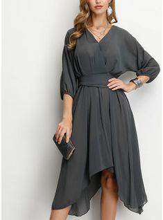 [£ Solid Sleeves A-line Knee Length Party/Elegant Dresses - VeryVoga How To Measure Yourself, Online Sales, Gray Dress, Elegant Dresses, Cold Shoulder Dress, V Neck, Grey, Sleeves, Color