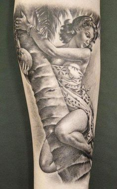 Realism Pin Up Tattoo by Shane O Neill - http://worldtattoosgallery.com/realism-pin-up-tattoo-by-shane-o-neill-2/
