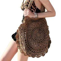 2019 Bohemian Straw Bags for Women Big Circle Beach Handbags Summer Vintage Rattan Bag Handmade Kintted Travel Bags clothes for women boho chic Crochet Handbags, Crochet Purses, Crochet Bags, Crochet Dresses, Crochet Clothes, Crochet Shell Stitch, Knit Crochet, Crochet Beanie, Crochet Style