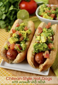 Chilean Style Hot Dogs with Avocado-Chili Relish