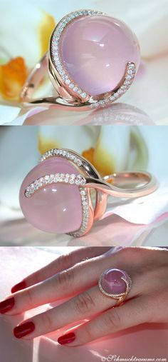 Feminine: Rosequartz Diamond Ring, 24 ct. RG18K