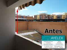 Construcción Contramuro para poder recuperar verticalidad con el techo e instalar ventanas pvc oscilobatientes + vidrio climalit. Málaga Capital (Barriada La Luz) www.ayelex.com