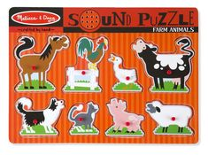 """Each happy farm animal """"sounds off"""" in its own voice when its animal puzzle piece is placed correctly in this eight-piece wooden peg puzzle! wooden peg puzzle with sturdy wooden puzzle board Full-color matching pictur Wooden Pegs, Wooden Puzzles, Chibi, Puzzle Crafts, Tsuyu, Sports Games For Kids, Puzzles For Toddlers, Preschool Puzzles, Animal Puzzle"""