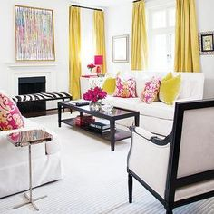 Yellow Curtains, Contemporary, living room, Style at Home