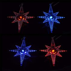 Clear crystal polar star with flashing LED colour changing lights. Ideal for Christmas tree hanging decorations. Size is about x Order Quantity: X 4 Pol Xmas Tree Decorations, Hanging Decorations, Festival Decorations, Color Changing Lights, Button Cell, Star Shape, Clear Crystal, Colour, Christmas Ornaments