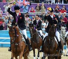 Zara Phillips and Kristina Cook celebrate with their silver medals, via Flickr.