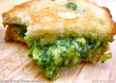 Full Belly Sisters: Green Grilled Cheese Sandwich - Spinach, Avocado, and Gouda Goodness