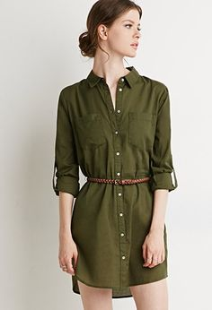 with tights and boots  Belted Shirt Dress | Forever 21 - 2000142957