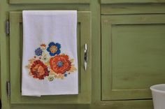 Vintage inspired micro-fiber kitchen towel, teal and orange.  Made by @Cha Cha @The Heartfelt Home
