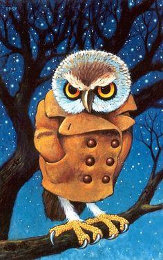 Blue Turtle 924 Owl Moon Handmade Greeting Card