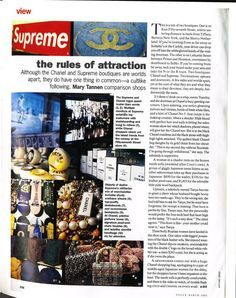 "SUPREME VS CHANEL 1995 VOGUE ARTICLE ""This is a tale of two boutiques."""