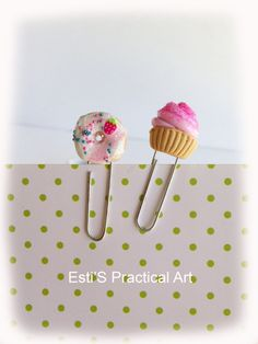 Cupcake and Doughnut decorative polymer clay paper clips by estico, $8.00